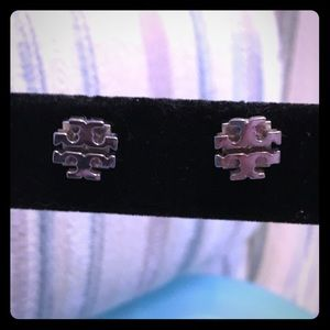 Tory Burch silver tone logo stud earrings, EUC